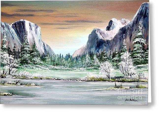 El Capitan Paintings Greeting Cards - Yosemite Valley Artist Point Greeting Card by Bill Holkham