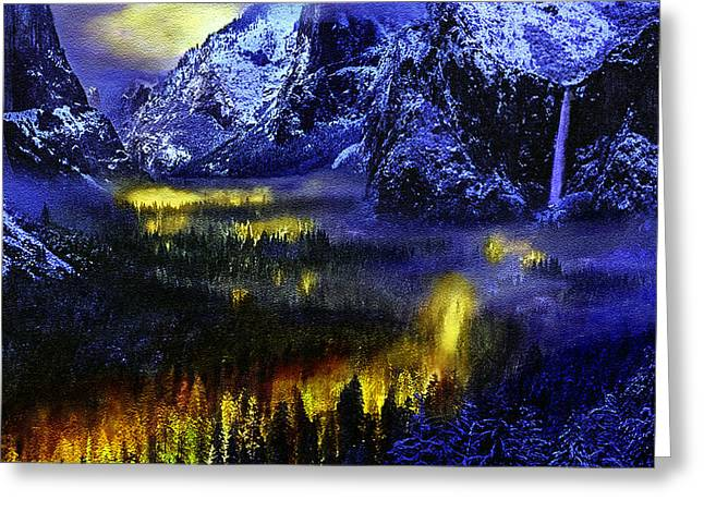 Cathedral Rock Greeting Cards - Yosemite Valley at Night Greeting Card by  Bob and Nadine Johnston
