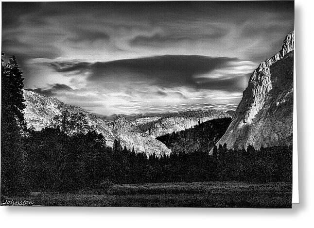 Cathedral Rock Mixed Media Greeting Cards - Yosemite Valley Black and White Greeting Card by  Bob and Nadine Johnston