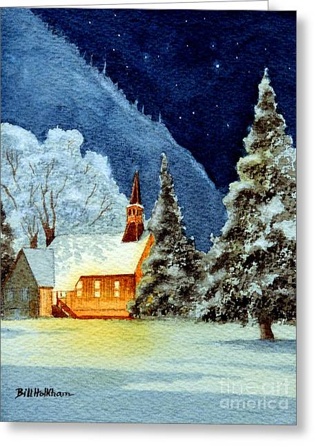 El Capitan Paintings Greeting Cards - Yosemite Valley Chapel Greeting Card by Bill Holkham