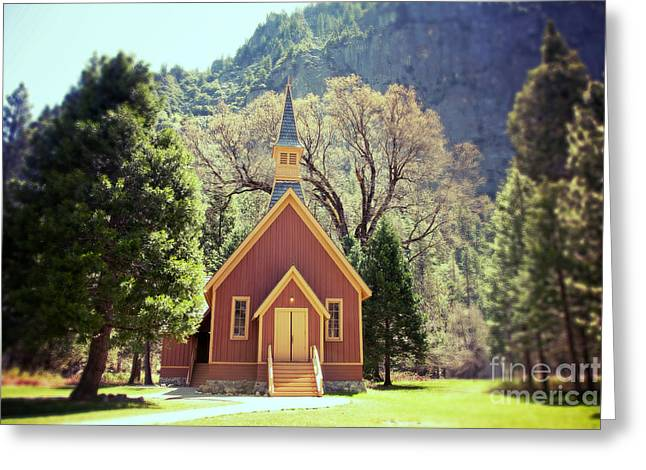 Rustic Photo Greeting Cards - Yosemite Valley Chapel lomo Greeting Card by Jane Rix