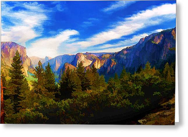 Rugged Terrain Greeting Cards - Yosemite Valley - Painterly Greeting Card by Bill Caldwell -        ABeautifulSky Photography