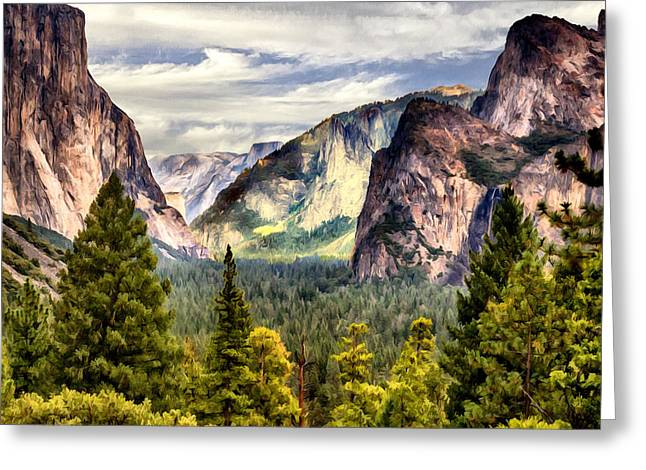 Cathedral Rock Greeting Cards - Yosemite Valley Painting Tunnel View Greeting Card by  Bob and Nadine Johnston