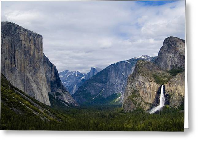 Yosemite Valley Panoramic Greeting Card by Bill Gallagher