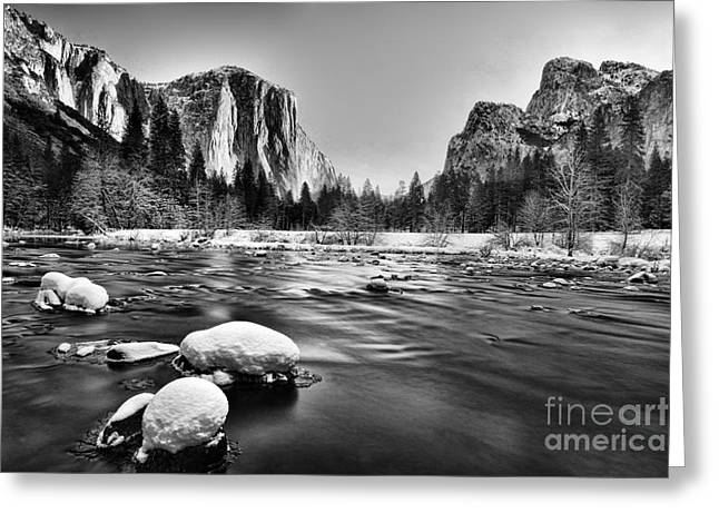 Winter Pyrography Greeting Cards - Yosemite Valley Greeting Card by Peter Dang