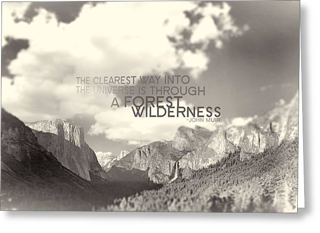 Catherine Digital Greeting Cards - Yosemite Valley Sepia with Quote Greeting Card by Catherine Noel