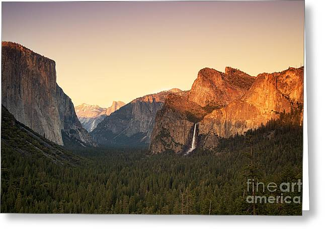 Vista Greeting Cards - Yosemite Valley Sunset Greeting Card by Jane Rix
