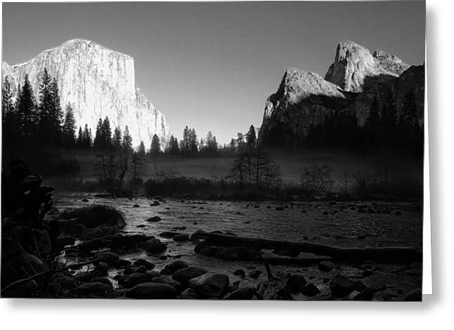 Cathedral Rock Greeting Cards - Yosemite Valley View Black and White Greeting Card by Scott McGuire