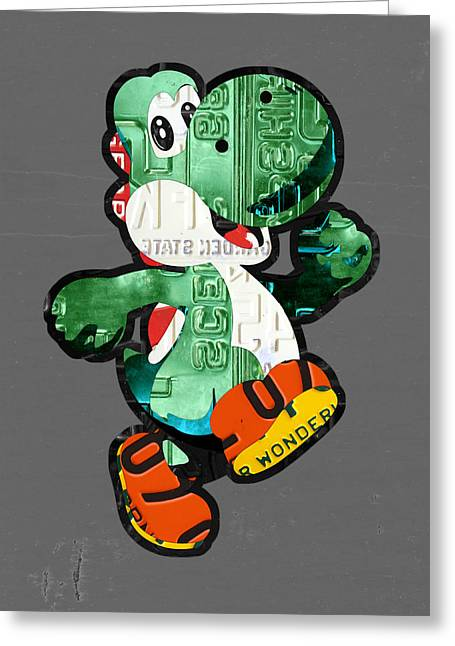 License Portrait Greeting Cards - Yoshi from Mario Brothers Nintendo Recycled License Plate Art Portrait Greeting Card by Design Turnpike