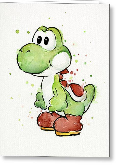 Game Mixed Media Greeting Cards - Yoshi Watercolor Greeting Card by Olga Shvartsur
