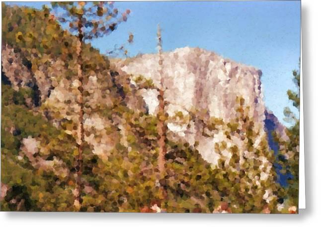 Yosimite Greeting Cards - Yosimite White Mountain Painting Greeting Card by Asbjorn Lonvig