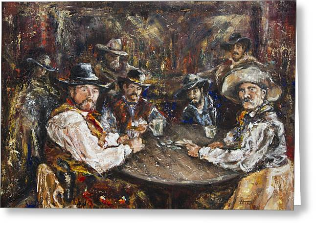 Saloons Paintings Greeting Cards - You Aint From Around Here Greeting Card by Helga Gravitt