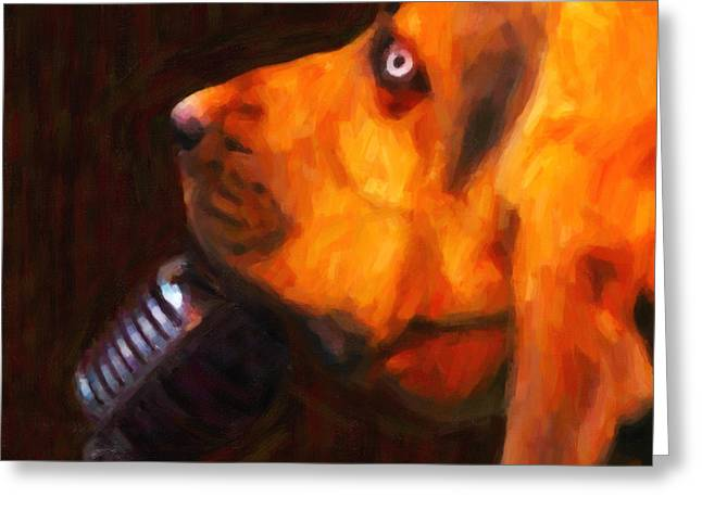 You Ain't Nothing But A Hound Dog - Dark - Painterly Greeting Card by Wingsdomain Art and Photography