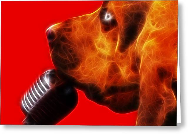 You Ain't Nothing But A Hound Dog - Red - Electric Greeting Card by Wingsdomain Art and Photography