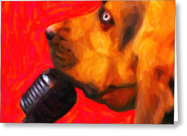 Blood Hound Greeting Cards - You Aint Nothing But A Hound Dog - Red - Painterly Greeting Card by Wingsdomain Art and Photography