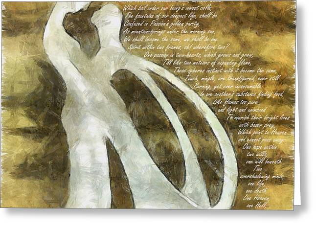 Romance Mixed Media Greeting Cards - You and I Epipsychidion 2 Greeting Card by Angelina Vick