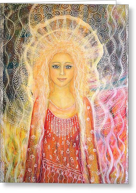 Spiritual Portrait Of Woman Paintings Greeting Cards - You are a shining star Greeting Card by Lila Violet