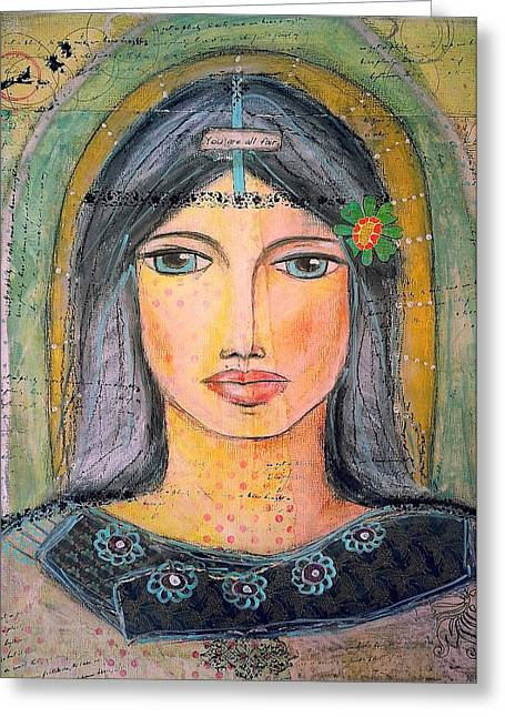 """""""song Of Songs"""" Mixed Media Greeting Cards - You Are All Fair Greeting Card by Danielle Bilen"""