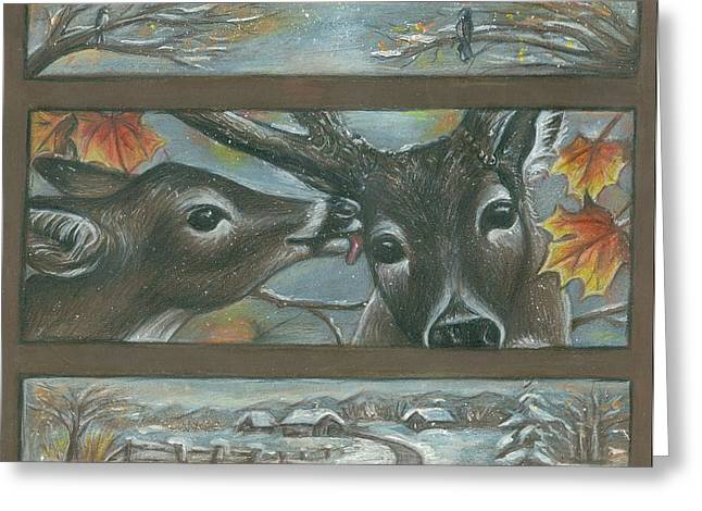 Fall Scenes Drawings Greeting Cards - You Are Deer To Me Greeting Card by Linda Nielsen