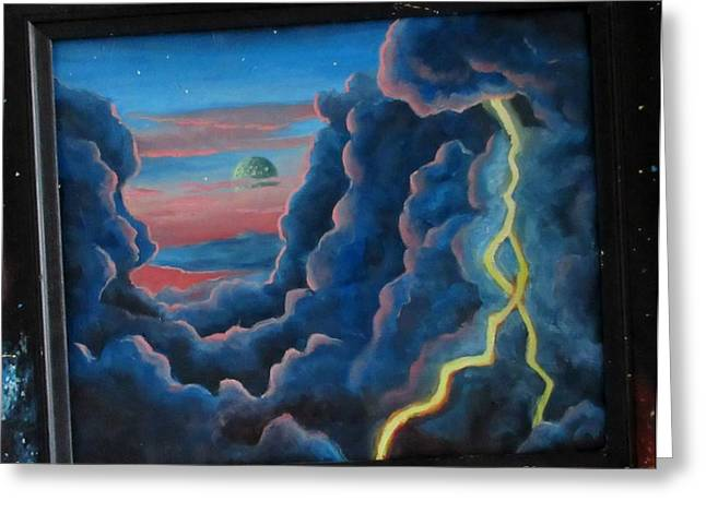 Outer Space Paintings Greeting Cards - You are Entering a Dimension of Space and Time  Greeting Card by John Malone