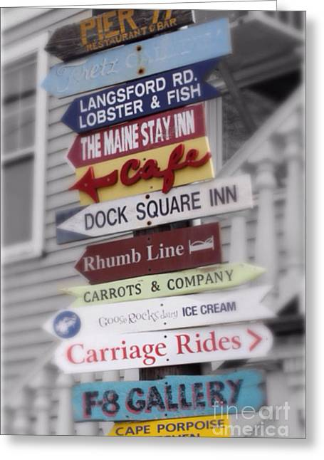 New England Village Greeting Cards - You Are Here in Maine v3 Greeting Card by Karen Anderson