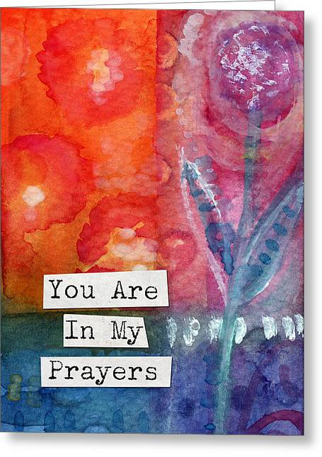 Cards Mixed Media Greeting Cards - You Are In My Prayers- watercolor art card Greeting Card by Linda Woods