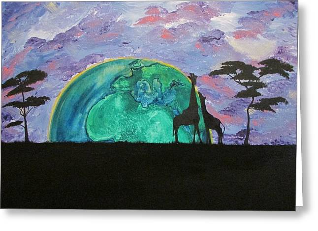 Solar Eclipse Paintings Greeting Cards - You Are My World Greeting Card by Amanda Roberts