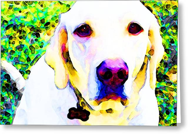 Dog Pop Art Greeting Cards - You Are My World - Yellow Lab Art Greeting Card by Sharon Cummings