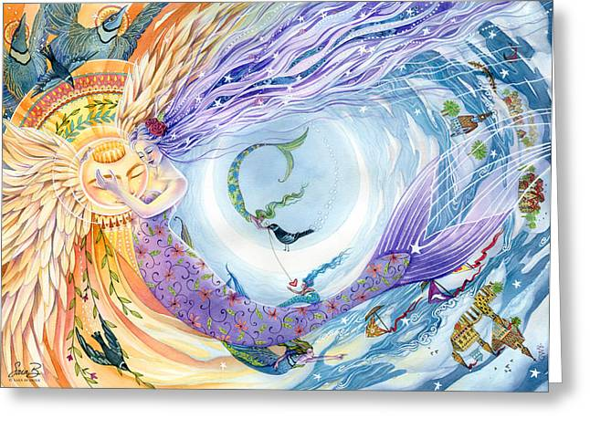 Angel Mermaids Ocean Greeting Cards - You Are the Sun I Am the Moon Greeting Card by Sara Burrier