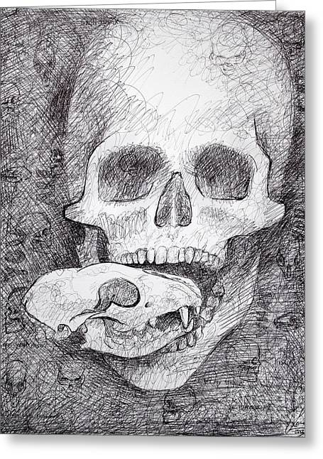 Ball Point Pen Greeting Cards - You Are What You Eat skull drawing Greeting Card by Adam Long