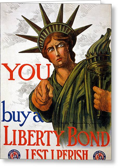Ww1 Greeting Cards - You Buy A Liberty Bond, 1917 Greeting Card by Charles Raymond Macauley