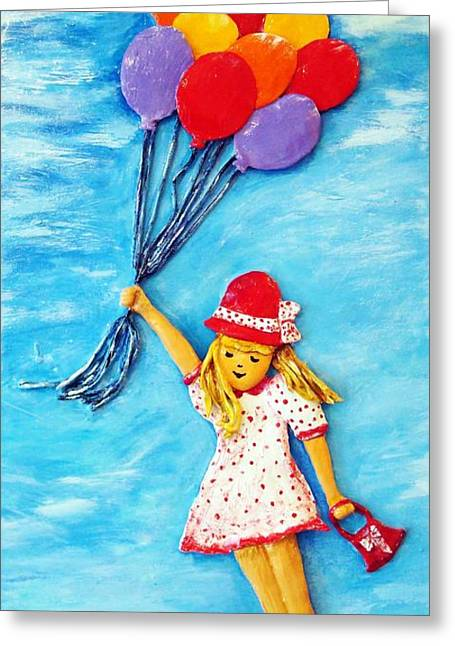 Original Sculptures Greeting Cards - You can fly Greeting Card by Raya Finkelson