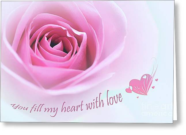 With Love Greeting Cards - You Fill My Heart With Love Greeting Card by Kaye Menner