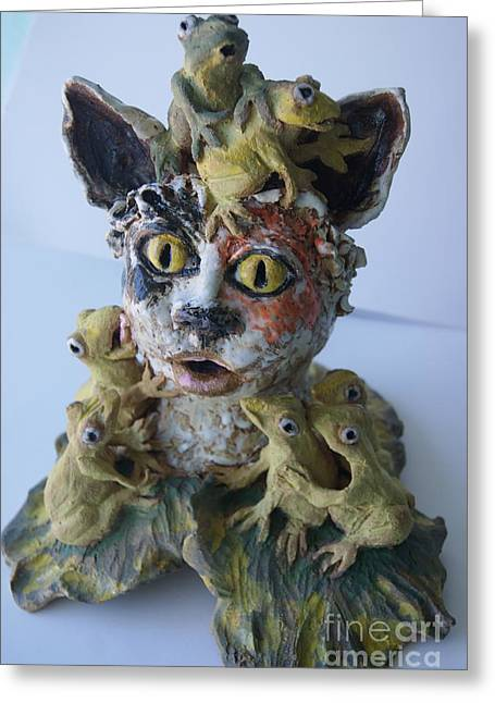 Sculpture. Ceramics Greeting Cards - You have to kiss a lot of frogs before you find your prince Greeting Card by Susan  Brown    Slizys art signature name