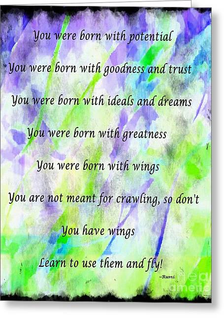 Green Barbara Griffin Art Greeting Cards - You Have Wings 2 Greeting Card by Barbara Griffin