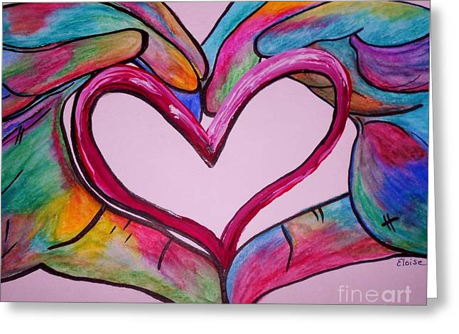 Asl Greeting Cards - You Hold My Heart in Your Hands Greeting Card by Eloise Schneider