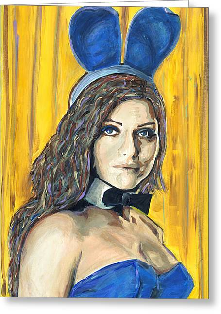 Playboy Bunny Greeting Cards - You look good in blue Greeting Card by Michael Jenks