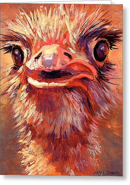 You Lookin At Me?? Greeting Card by Judy Downs