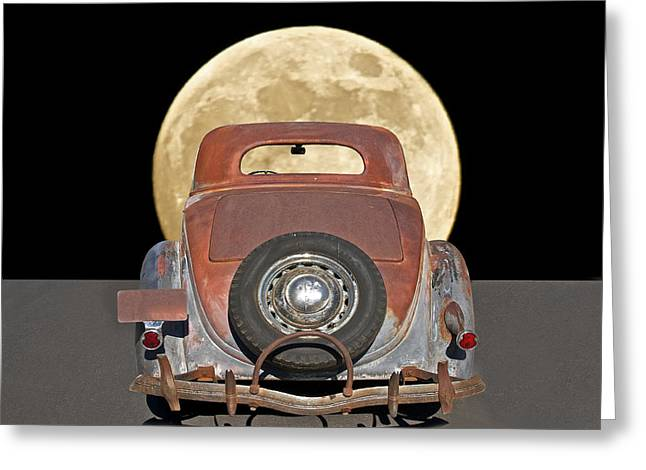 Family Car Greeting Cards - You Me and the Moonlight Greeting Card by Dave Koontz