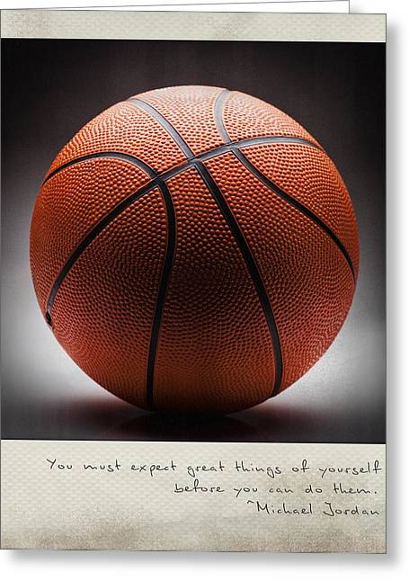 Michael Jordan Photographs Greeting Cards - You must expect great things of yourself before you can do them. - Michael Jordan Polaroid Greeting Card by Bradley R Youngberg