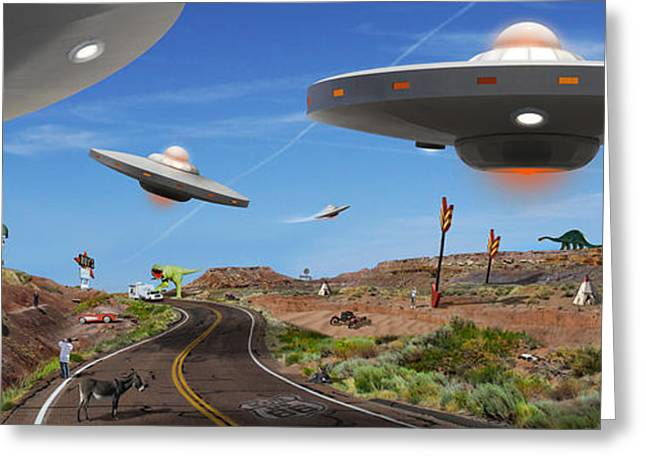 Spacecraft Greeting Cards - You Never Know . . . Panoramic Greeting Card by Mike McGlothlen