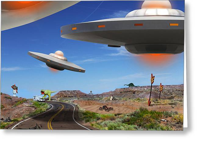 Spacecraft Greeting Cards - You Never Know What You will See On Route 66 2 Greeting Card by Mike McGlothlen