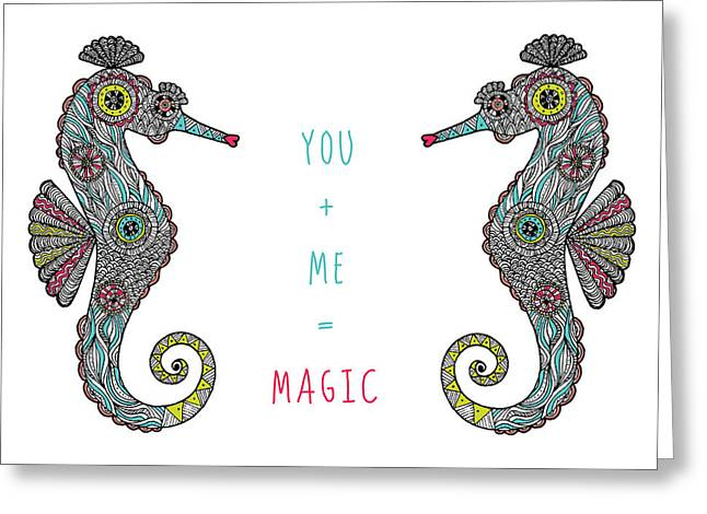 Under The Sea Greeting Cards - You Plus Me Equals Magic Greeting Card by Susan Claire