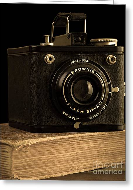 Old Objects Greeting Cards - You push the button we do the rest Kodak Brownie Vintage Camera Greeting Card by Edward Fielding