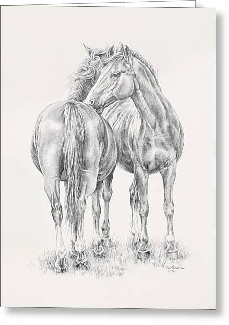Wild Horses Drawings Greeting Cards - You Scratch My Back Ill Scratch Yours Greeting Card by Kim Lockman