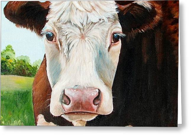 Hereford Greeting Cards - You talking to Me Greeting Card by Laura Carey