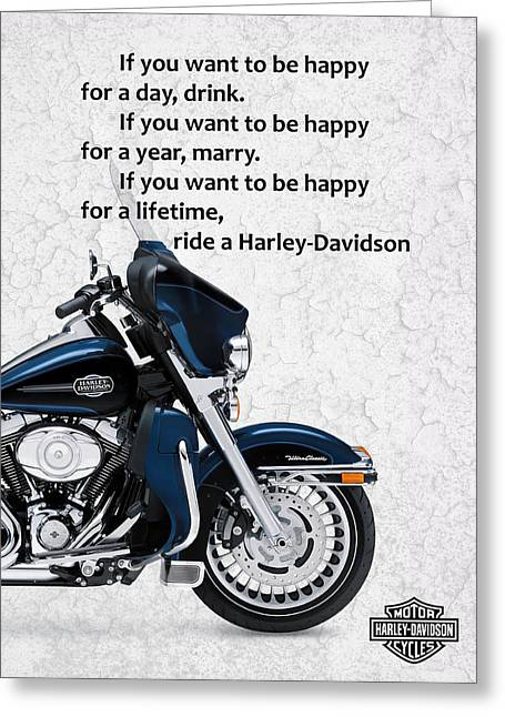 Motorcycles Greeting Cards - You Want To Be Happy 3 Greeting Card by Mark Rogan