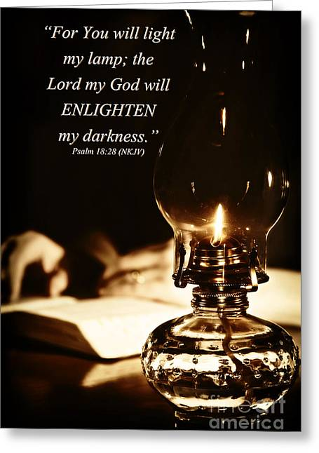 Scripture Reading Greeting Cards - You Will Light My Lamp Greeting Card by Lincoln Rogers