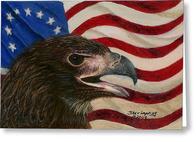 4th July Paintings Greeting Cards - Young Americans Greeting Card by Sherryl Lapping