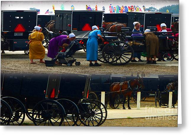 Amish Father Greeting Cards - Young  Amish Moms Greeting Card by Tina M Wenger